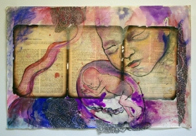 Swiftly Falling. Mixed Media Collage.