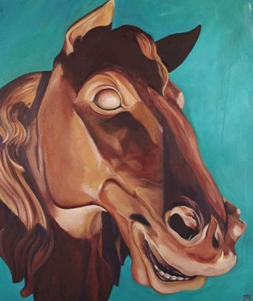 Stallion of Stone. Oil on canvas.
